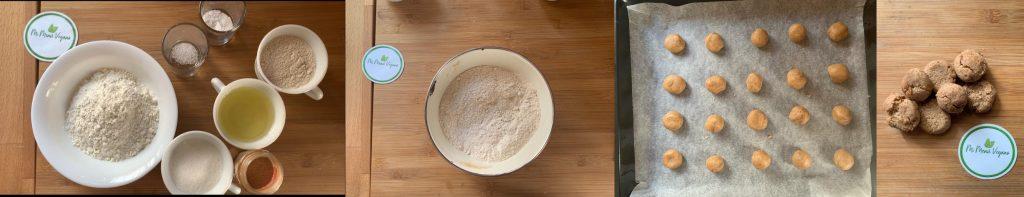 En esta imagen aparecen los diferentes pasos en la elaboración de la receta de galletas veganas