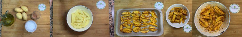 Carrusel de imagenes del proceso de elaboración de patatas deluxe veganas