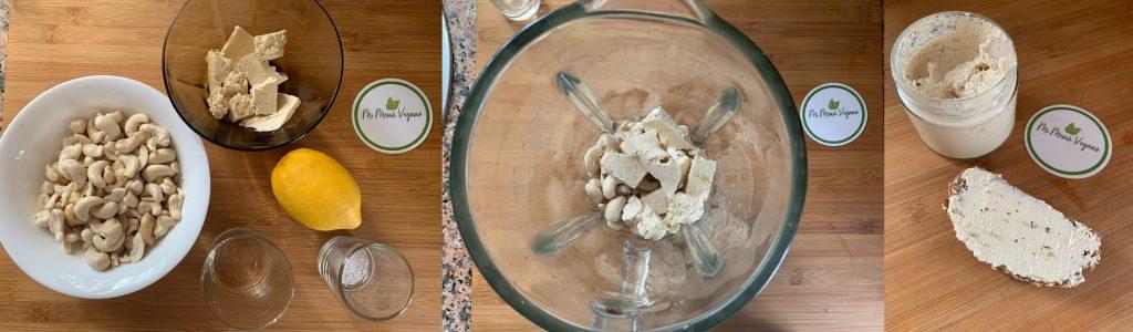 En esta imagen aparecen las diferentes imagenes del proceso de elaboración de la receta de queso de untar vegano