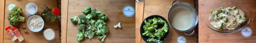En esta imagen aparecen los diferentes pasos de la elaboracion de la receta de brocoli gratinado vegano