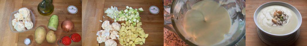 En esta imagen aparecen diferentes fotos del proceso de elaboración de la crema de coliflor vegana