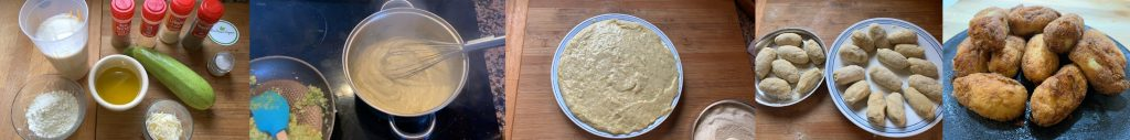 En esta imagen aparecen diferentes fotos del proceso de elaboración de la receta de croquetas veganas