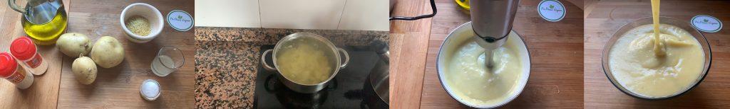 En esta imagen aparecen diferentes fotos del proceso de elaboración de queso de patata vegano