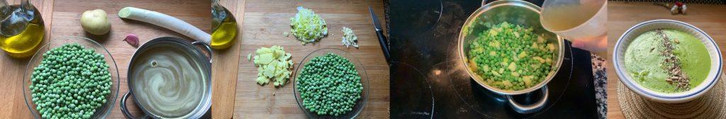 En esta imagen aparecen diferentes fotos del proceso de elaboración de crema de guisantes