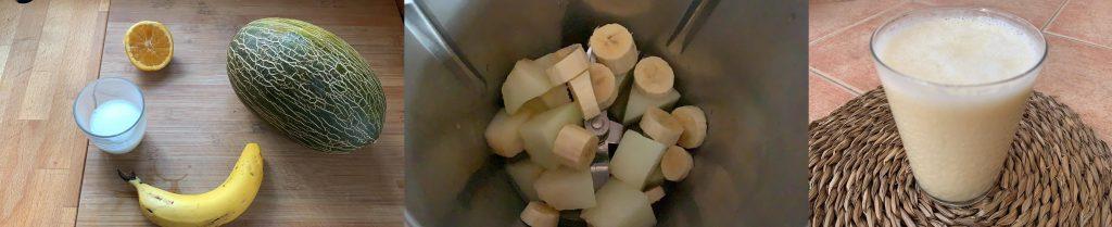 En esta imagen aparecen diferentes fotos del proceso de elaboración de smoothie vegano de melón y plátano