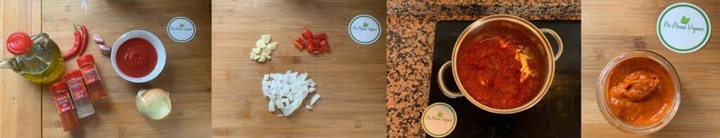 En esta imagen aparece los diferentes pasos para elaborar la salsa brava vegana