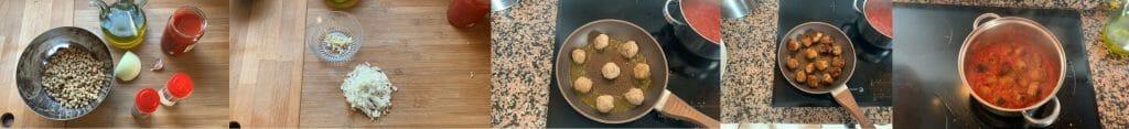En esta imagen aparecen diferentes fotos del proceso de elaboración de la receta de albóndigas veganas de soja texturizada
