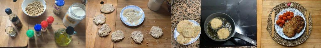 En esta imagen aparecen diferentes fotos del proceso de elaboración de filetes de soja
