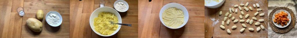 En esta imagen aparecen diferentes fotos del proceso de elaboración de ñoquis veganos