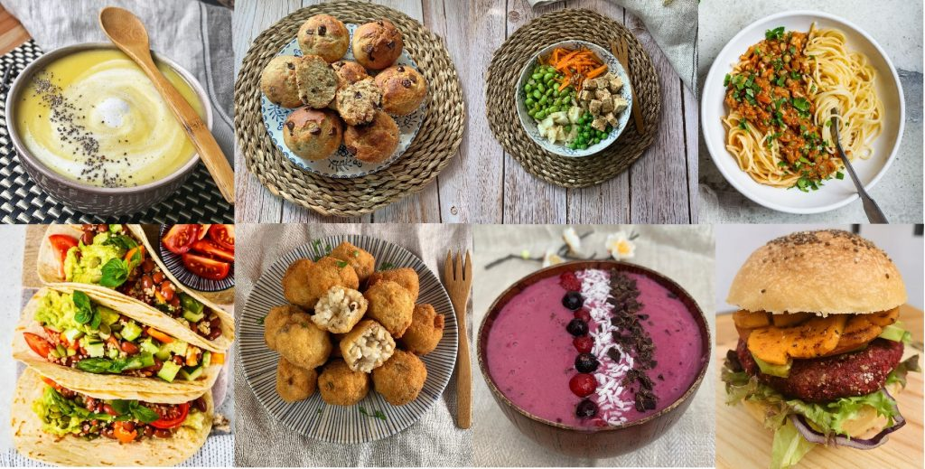 En esta imagen aparecen diferentes fotos de platos veganos